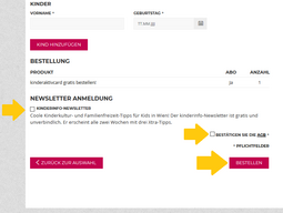 Screenshot: kinderaktivcard bestellen - Newsletter dazubestellen