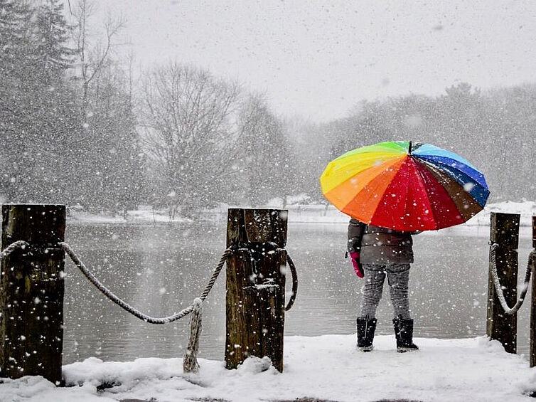Person mit buntem Regenschirm in Winderlandschaft vor See